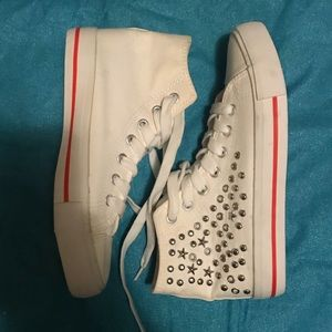 High Top Studded White Converse